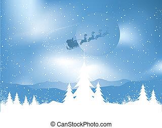 Santa on a snowy night - Silhouette of santa flying through...