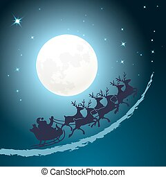 Santa on his sleigh Christmas background