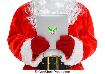 Santa on his tablet computer