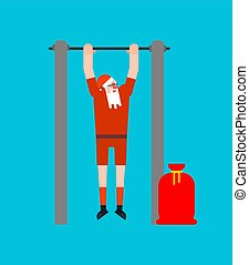 Santa on horizontal bar. Pull up granddad street workout. ...
