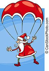 santa on parachute cartoon illustration