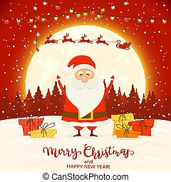 Santa on Red Winter Background with Gifts and Christmas Lights