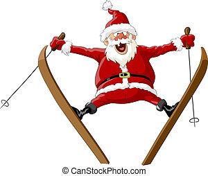 Santa on skis - Santa Claus on skis in the jump, vector