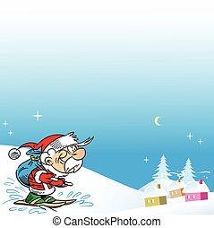 Santa on skis - Santa Claus came to ski toward a small...