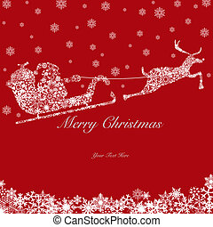 Santa on Sleigh with Reindeers and Snowflakes 2 - Santa on...
