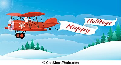 Santa on the Airplane - Santa on the plane with banner Happy...