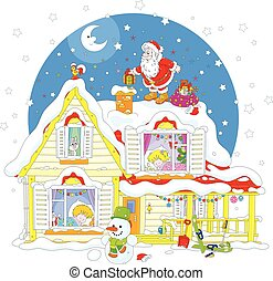 Santa on the housetop with gifts - The night before...