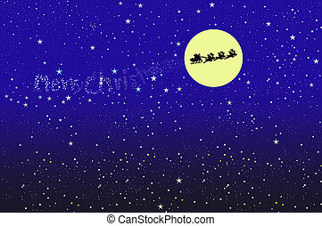 santa on the moon background