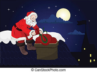 Santa on the roof with a bag of gifts