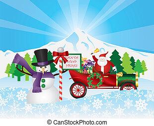 Santa on Vintage Car With Snow Scene
