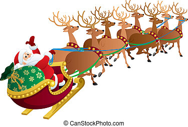 Santa on White - Santa Claus with his reindeers isolated on...