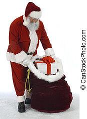 Santa Opening Sack of Toys