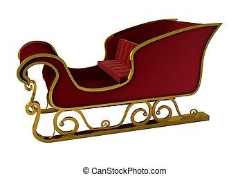 santa, oro, sleigh, rojo