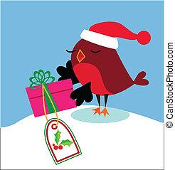 santa, pássaro, presente, natal
