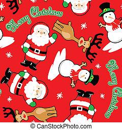 santa, padrão, seamless, feliz, amigos, natal