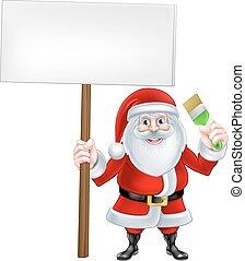 Santa Paintbrush Sign