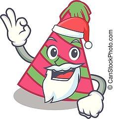Santa party hat mascot cartoon vector illustration
