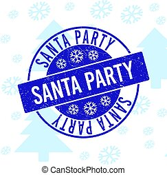 Santa Party Scratched Round Stamp Seal for Xmas