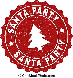 SANTA PARTY Scratched Stamp Seal with Fir-Tree