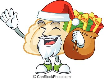Santa pierogi Cartoon character design having box of gift