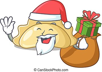 Santa pierogi Cartoon character design having box of gift. Vector illustration
