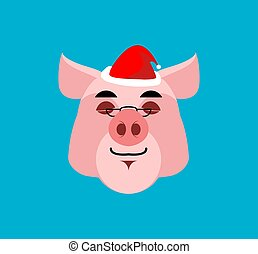 Santa Pig sleep Emoji. Christmas Dream . Piggy with eyes closed. face avatar emotion