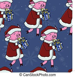 Santa pig with gifts pattern seamless vector illustration