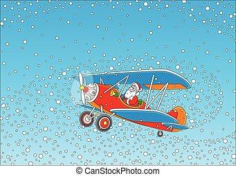 Santa piloting a plane