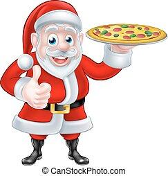 santa, pizza