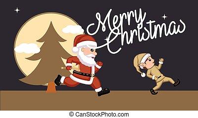 Santa Playing with Kid Elf