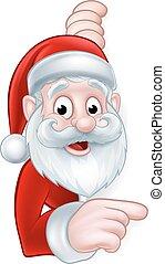 Santa Pointing Cartoon Sign