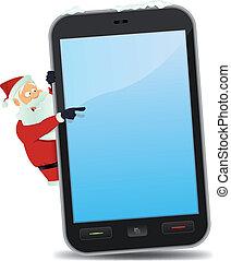Santa Pointing Smartphone