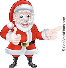 Santa Pointing Thumbs Up