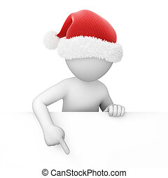 Santa points finger down, image with a work path