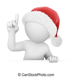 Santa points finger up, image with a work path