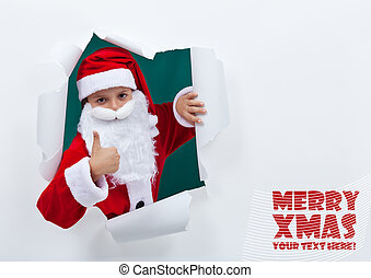 Santa popping out of torn edges hole with thumbs up sign -...