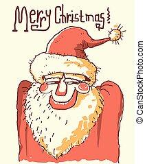 Santa portrait.Vector color hand drawn christmas illustration