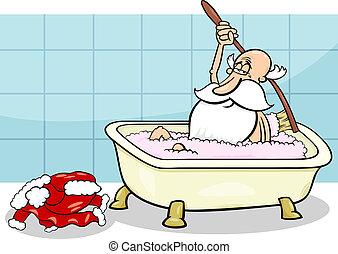 santa, presa, cartone animato, illustrazione, bagno