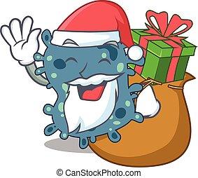 santa, presente natal, desenho, caricatura, rickettsia