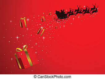Santa Presents - Silhouette illustration of Santa Claus...
