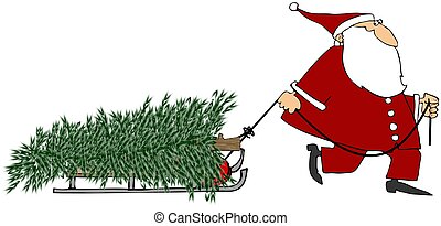 Santa pulling a Christmas tree - This illustration depicts...