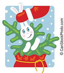 Santa pulls a rabbit out of the bag. Rabbit keeps a Christmas tree.