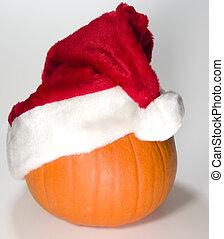 Santa Pumpkin with Tilted Hat