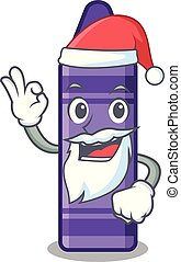 Santa purple crayon in a mascot bag