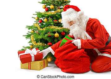 Santa putting the gift boxes under the Christmas tree