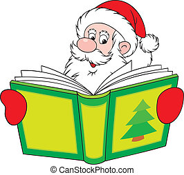 Santa reader - Santa Claus reading a big book