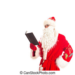 Santa reading list of gifts. Isolated on white. Space for your text.