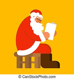 Santa reading mail. Claus and message. Xmas letter from children. New Year and Christmas Vector illustration