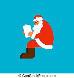 Santa reading mail isolated template. Claus and message. Xmas letter from children. New Year and Christmas Vector illustration