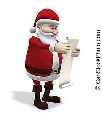 3d rendering/illustration of cartoon santa claus studying a wishlist